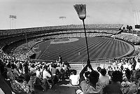 Oakland Alameda County Coliseum sold out crowd waiting to sweep the Red Sox in 1990..photo by Ron Riesterer