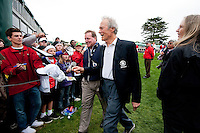 PEBBLE BEACH, CA--Clint Eastwood greets fans at the AT&T Pebble Beach National Pro-Am Golf Championship at Pebble Beach Golf Links in Pebble Beach, CA on Sunday, February 12, 2012. Mickelson won the tournament with a total score of 269.