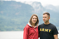 Military couple off duty