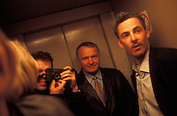 MINSK, BELARUS - APRIL 2:  People in an elevator in Minsk, Belarus.  For years, Belarus was frozen in its communist past. Now the radical change that has swept the former Soviet Union -- from Georgia's 2003 popular uprising to Ukraine's orange revolution last winter to the recent meltdown in Kyrgyzstan -- is catching up with President Alexander Lukashenko, a dictator whose regime has been described as Stalinism minus the Gulag. The images here capture a country and a people inexorably moving toward revolution: Student activists organizing illegally, democratic reformers meeting in rusting warehouses, protesters holding pictures of 'enemies of the state' murdered by the security services. Just beneath the apparent ordinariness and staidness of this post-Soviet republic, which is barely distinguishable from its former Soviet self, is a deep and powerful anger and a yearning for a new politics and a new possibility. That is the crux of Belarus today -- anger and yearning held together by the glimmer of a hope that tomorrow the regime may tumble. (Photo by Landon Nordeman)