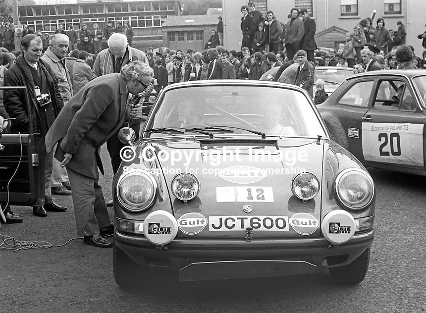 Winners Jack Tordoff and co-driver, Phil Short, UK, at the finishing line of the 1973 Circuit of Ireland Motor Rally, 24th April 1973. 197304240217f<br /> <br /> Copyright Image from Victor Patterson, 54 Dorchester Park, Belfast, UK, BT9 6RJ<br /> <br /> Tel: +44 28 9066 1296<br /> Mob: +44 7802 353836<br /> Voicemail +44 20 8816 7153<br /> Email: victorpatterson@me.com<br /> Email: victorpatterson@gmail.com<br /> <br /> IMPORTANT: My Terms and Conditions of Business are at www.victorpatterson.com