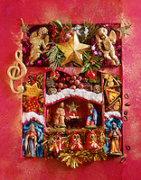 festive Christmas decorations red and nativity