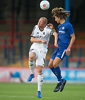 Scott Rendall of Aldershot Town & Ethan Ampadu of Chelsea U23 during the pre season friendly match between Aldershot Town and Chelsea U23 at the EBB Stadium, Aldershot, England on 19 July 2017. Photo by Andy Rowland / PRiME Media Images.
