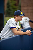 Michigan Wolverines pitcher Steven Hajjar (27) before the NCAA baseball game against the Michigan State Spartans on May 7, 2019 at Ray Fisher Stadium in Ann Arbor, Michigan. Michigan defeated Michigan State 7-0. (Andrew Woolley/Four Seam Images)