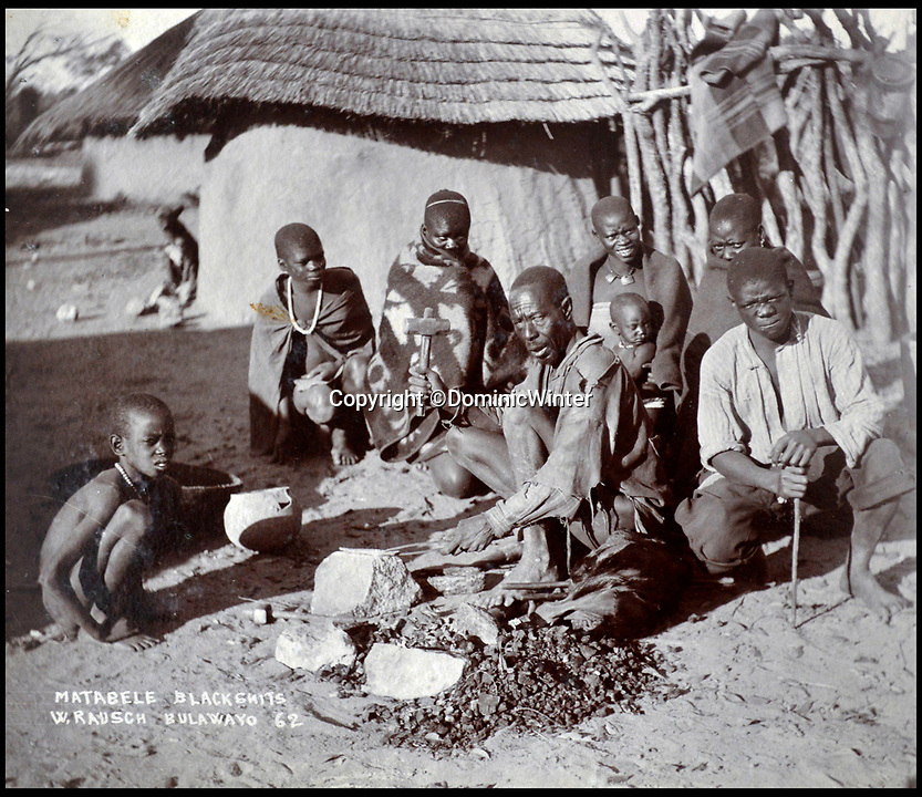BNPS.co.uk (01202 558833)Pic: DominicWinter/BNPS<br /> <br /> Matabele tribe, Rhodesia (Zimbabwe) - 1896 and 1900.<br /> <br /> These fascinating photos capture life in southern Africa at the end of the 20th century at a time of great uncertainty for the region.<br /> <br /> They were taken between 1896 and 1900 and cover the period of the Second Matabele War in Rhodesia, today known as Zimbabwe.<br /> <br /> One photo shows soldiers at a lookout with ammunition around their necks poised and ready to fire.<br /> <br /> Another image is of a laager, an encampment protected by a circle of wagons or armored vehicles.<br /> <br /> There is also the remarkable sight of troops lined up on bicycles and an imposing fort in the hills.