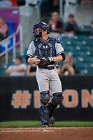 Staten Island Yankees catcher Josh Breaux (28) during a game against the Aberdeen IronBirds on August 23, 2018 at Leidos Field at Ripken Stadium in Aberdeen, Maryland.  Aberdeen defeated Staten Island 6-2.  (Mike Janes/Four Seam Images)