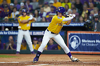 Daniel Cabrera (8) of the LSU Tigers at bat against the Oklahoma Sooners in game seven of the 2020 Shriners Hospitals for Children College Classic at Minute Maid Park on March 1, 2020 in Houston, Texas. The Sooners defeated the Tigers 1-0. (Brian Westerholt/Four Seam Images)