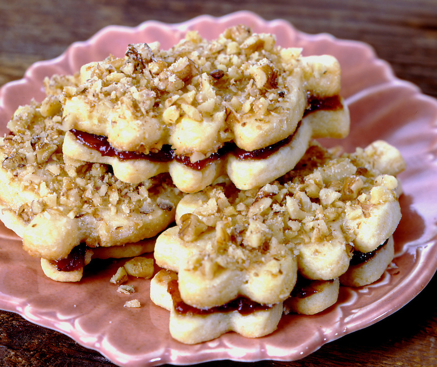 Lincer Cookies filled with Raspberry Jam and covered in Nuts