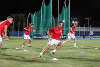 GEORGETOWN, GRAND CAYMAN, CAYMAN ISLANDS - NOVEMBER 19: Daniel Lovitz #5 of the United States warming up during a game between Cuba and USMNT at Truman Bodden Sports Complex on November 19, 2019 in Georgetown, Grand Cayman.
