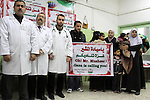 A Palestinian doctors in the al Naser Hospital of the Children, deliver speech in a press conference talking about the risks blackout in the Hospital  in Gaza City, On Feb. 19, 2012. Photo by Mohammed Asad
