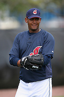 Cleveland Indians Juan Lara during practice before a Grapefruit League Spring Training game at the Chain of Lakes Complex on March 16, 2007 in Winter Haven, Florida.  (Mike Janes/Four Seam Images)