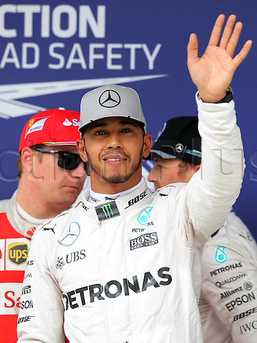 12.11.2016. Sao Paulo, Brazil. Formula 1 Grand Prix of Brazil, qualifying day.  Lewis Hamilton (GBR) Mercedes AMG Petronas F1 Team celebrates pole position during qualifying