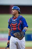 AZL Cubs catcher Kevin Zamudio (4) on defense against the AZL Royals on July 19, 2017 at Sloan Park in Mesa, Arizona. AZL Cubs defeated the AZL Royals 5-4. (Zachary Lucy/Four Seam Images)