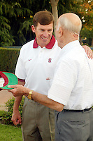Buddy Teevens at the football welcome dinner in August 2002 in the Arrillaga Plaza in Stanford, CA.