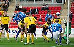 St Johnstone v Livingston...24.08.11   Scottish Communities League Cup Round 2.Murray Davidson scores the first goal.Picture by Graeme Hart..Copyright Perthshire Picture Agency.Tel: 01738 623350  Mobile: 07990 594431
