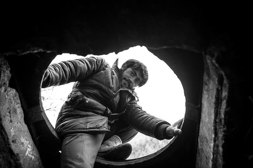Remus, 26, has made an underground room his home near Piata Victoriei in central Bucharest.