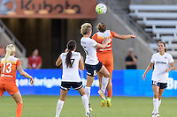 Houston, TX - Thursday Aug. 18, 2016: Cali Farquharson, Joanna Lohman, Amber Brooks during a regular season National Women's Soccer League (NWSL) match between the Houston Dash and the Washington Spirit at BBVA Compass Stadium.