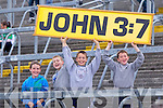 Kerry supporters, from left, Bill O'Connell (Scartaglen), Kieran Cotter (Knocknagoshel), Hugh O'Connor and Sean O'Connel(Scartaglen) Munster GAA Football Junior Championship Semi-Final held in the Gaelic Grounds last Saturday.