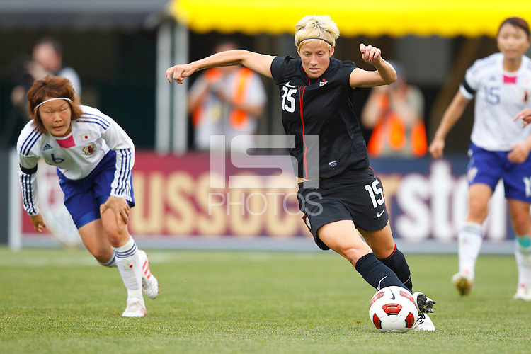 14 MAY 2011: USA Women's National Team midfielder Megan Rapinoe (15) dribbles the ball during the International Friendly soccer match between Japan WNT vs USA WNT at Crew Stadium in Columbus, Ohio.