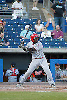 Louisville Bats infielder Jermaine Curtis (1) at bat during a game against the Norfolk Tides at Harbor Park on April 26, 2016 in Norfolk, Virginia. Louisville defeated defeated Norfolk 7-2. (Robert Gurganus/Four Seam Images)