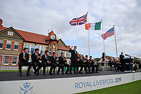 Conor Purcell  (GB&I) is introduced during the opening ceremony at the Walker Cup, Royal Liverpool Golf CLub, Hoylake, Cheshire, England. 06/09/2019.<br /> Picture Fran Caffrey / Golffile.ie<br /> <br /> All photo usage must carry mandatory copyright credit (© Golffile | Fran Caffrey)