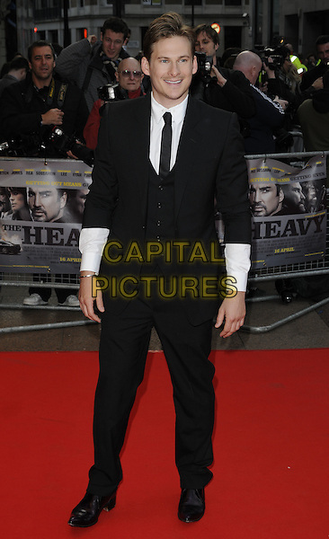 "LEE RYAN .At the UK film premiere of ""The Heavy"", Odeon West End cinema, Leicester Square, London, England, UK, .April 15th 2010..arrivals full length black suit tie white shirt sleeves waistcoat .CAP/CAN.©Can Nguyen/Capital Pictures."
