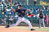 Mark Appel #28 of the Lancaster JetHawks pitches against the Lake Elsinore Storm at The Hanger on April 6, 2014 in Lancaster, California. Lancaster defeated Lake Elsinore, 7-4. (Larry Goren/Four Seam Images)