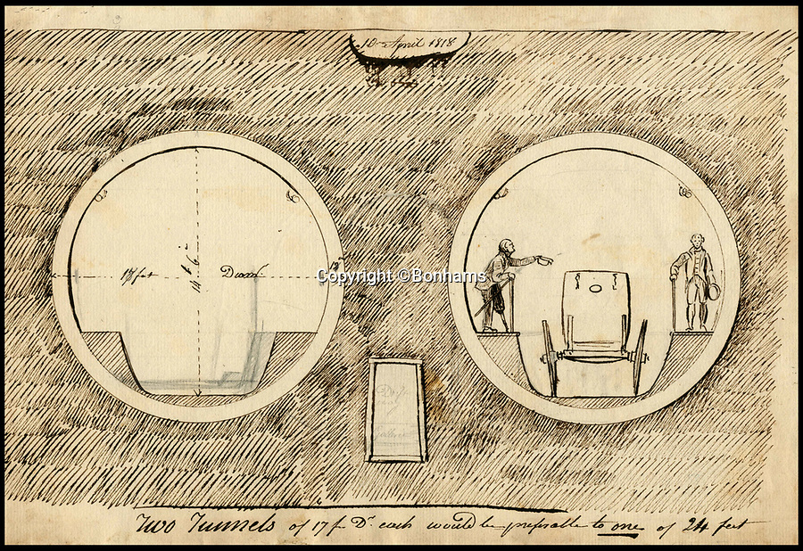 BNPS.co.uk (01202 558833)Pic: Bonhams/BNPS<br /> <br /> Illustration showing the diameter (35 feet) and height (20 feet) of Brunel's Thames Tunnel. <br /> <br /> Fascinating plans for the world's first underwater tunnel from the Brunel family archive have come to light and are tipped to sell for £100,000.<br /> <br /> The 1,300ft long Thames Tunnel connecting Rotherhithe and Wapping was such an amazing engineering feat it was described as 'the eighth wonder of the world'.<br /> <br /> It was designed by Marc Brunel, the father of Isambard Kingdom Brunel who was also involved in the project.<br /> <br /> Work on the tunnel, which was 35ft wide, 20ft high and 75ft below the river surface, got underway in 1825, but a combination of unfortunate accidents and spiralling costs meant it took 18 years to build.
