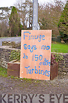 A sign erected in Finuge on Thursday opposing wind turbines  in the area.