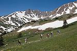 Hikers in Herman Gulch, James Peak Wilderness Area near Georgetown, Colorado, USA