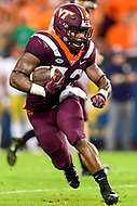 Blacksburg, VA - OCT 6, 2018: Virginia Tech Hokies running back Steven Peoples (32) breaks free on his way to a first down during first  half action of game between Notre Dame and Virginia Tech at Lane Stadium/Worsham Field Blacksburg, VA. (Photo by Phil Peters/Media Images International)