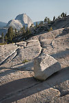 Yosemite-Tioga Pass Highway--Half Dome and glacial erratics, Olmstead Point.
