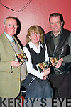 "LAUNCH: Launching her CD ""Keepsake"" at The Gathering in the Gleneagle Hotel, Killarney, on Friday night was Elaine Flannery from Blarney (formerly of Ballyhar, Killarney), with Jimmy O'Brien, O'Briens Bar, College St., who launched the album, and Pat (Herring) Ahern, Producer of Keepsake, from Dripsey in Cork.."