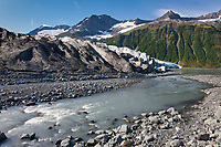 The tidewater face of Harriman glacier, Chugach mountains, Chugach National Forest, Prince William Sound, southcentral, Alaska.