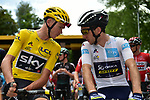 Race leader Yellow Jersey Chris Froome (GBR) Team Sky chats with White Jersey Simon Yates (GBR) Orica-Scott on the start line before Stage 8 of the 104th edition of the Tour de France 2017, running 187.5km from Dole to Station des Rousses, France. 8th July 2017.<br /> Picture: ASO/Pauline Ballet | Cyclefile<br /> <br /> <br /> All photos usage must carry mandatory copyright credit (&copy; Cyclefile | ASO/Pauline Ballet)
