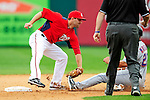 1 March 2011: Washington Nationals' infielder Danny Espinosa gets Fernando Martinez out stealing second during a Spring Training game against the New York Mets at Space Coast Stadium in Viera, Florida. The Nationals defeated the Mets 5-3 in Grapefruit League action. Mandatory Credit: Ed Wolfstein Photo