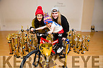 Five year old Rhian Duffy who was the winner of the All ireland Championships in Trabolgan and then won the overall hiphop Championship. Rhian is a pupil of Cassie Leen's School Of Dance in Tralee. Pictured with his Trophies and a bike bigger then him he won as part of the prize. Pictured also picture is l-r Cassie Leen and Ciara Powell.