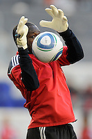New York Red Bulls goalkeeper Bouna Coundoul (18) during warmups prior to a Major League Soccer match between the New York Red Bulls and the Chicago Fire at Red Bull Arena in Harrison, NJ, on March 27, 2010. The Red Bulls defeated the Fire 1-0.