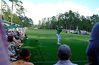 Bryson DeChambeau (USA) on the 14th tee during the 1st round at the The Masters , Augusta National, Augusta, Georgia, USA. 11/04/2019.<br /> Picture Fran Caffrey / Golffile.ie<br /> <br /> All photo usage must carry mandatory copyright credit (&copy; Golffile | Fran Caffrey)