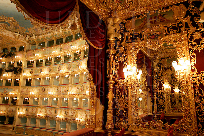 Veduta interna del Teatro La Fenice dalla Loggia Reale, a Venezia.<br /> Interior view from the Royal Loggia of La Fenice theater in Venice.<br /> UPDATE IMAGES PRESS/Riccardo De Luca
