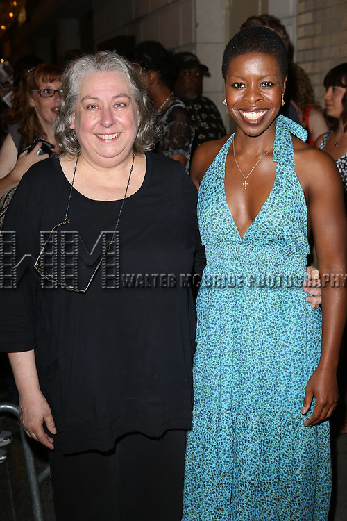 """Jayne Houdyshell and Roslyn Ruff greeting fans at the stage door the after the First Performance of """"Romeo And Juliet"""" On Broadway at the Richard Rodgers Theatre in New York City on 8/24/2013"""