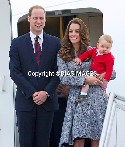 25.04.2014; Canberra: PRINCE GEORGE AND PARENTS KATE AND PRINCE WILLIAM<br /> depart Canberra on a Royal Australian Air Force plane for a connecting flight in Sydney.<br /> The Cambridges are returning to England after a 19 Royal Tour of NewZealand and Australia<br /> Mandatory Photo Credit: &copy;Francis Dias/DiasImages<br /> <br /> **ALL FEES PAYABLE TO: &quot;NEWSPIX INTERNATIONAL&quot;**<br /> <br /> PHOTO CREDIT MANDATORY!!: NEWSPIX INTERNATIONAL(Failure to credit will incur a surcharge of 100% of reproduction fees)<br /> <br /> IMMEDIATE CONFIRMATION OF USAGE REQUIRED:<br /> Newspix International, 31 Chinnery Hill, Bishop's Stortford, ENGLAND CM23 3PS<br /> Tel:+441279 324672  ; Fax: +441279656877<br /> Mobile:  0777568 1153<br /> e-mail: info@newspixinternational.co.uk