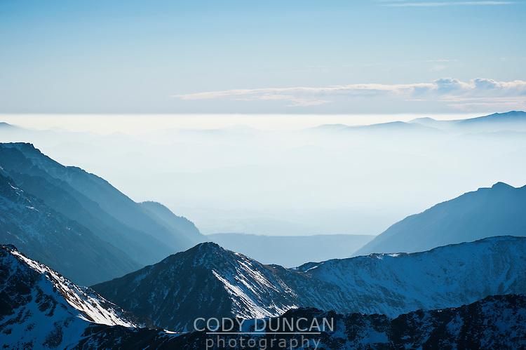 Tatra mountains looking south into Slovakia from near Zawrat pass, Poland