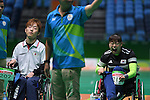 (L-R) Hidetaka Sugimura (JPN), Jeong So Yeong (KOR), <br /> SEPTEMBER 15, 2016 - Boccia : <br /> Individual BC2 Quarter final match between Jeong So Yeong - Hidetaka Sugimura <br /> at Carioca Arena 2<br /> during the Rio 2016 Paralympic Games in Rio de Janeiro, Brazil.<br /> (Photo by AFLO SPORT)