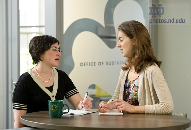 Mar. 26, 2012; Intern Ann Whitty talks with Rachel Novick, Education & Outreach Program Manager in the Office of Sustainability...Photo by Matt Cashore/University of Notre Dame