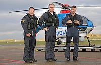 Norwegian Police Helicopter crew (from left) system operator Lasse Iversen,  pilot Gunnar Arnekleiv and pilot Stian Ødegaard.
