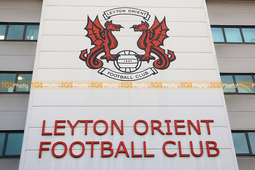 General view of the signage above the main stadium entrance ahead of Leyton Orient vs Morecambe, Sky Bet EFL League 2 Football at the Matchroom Stadium on 7th February 2017