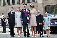 King Philippe & Queen Mathilde of Belgium attend the ' Te Deum Mass ' On Belgian National Day