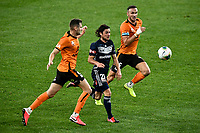 29th July 2020; Bankwest Stadium, Parramatta, New South Wales, Australia; A League Football, Melbourne Victory versus Brisbane Roar; Marco Rojas of Melbourne Victory runs onto the ball as Tom Aldred of Brisbane Roar covers the run