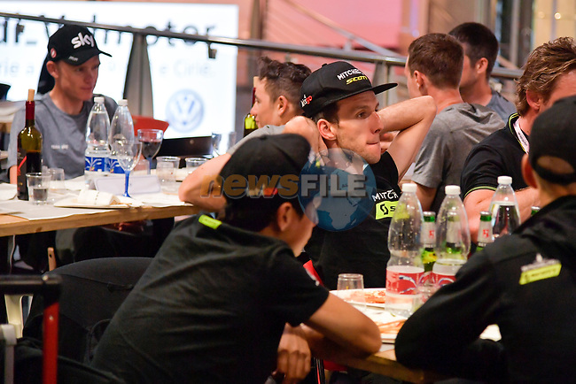 Riders and staff including Simon Yates (GBR) Mitchelton-Scott wait at Aeroporto di Caselle Turin to transfer to Rome after Stage 20 of the 2018 Giro d'Italia,  Italy. 26th May 2018.<br /> Picture: LaPresse/Marco Alpozzi | Cyclefile<br /> <br /> <br /> All photos usage must carry mandatory copyright credit (© Cyclefile | LaPresse/Marco Alpozzi)